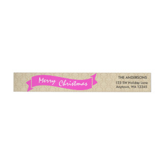 Merry Christmas Wraparound Return Address Label