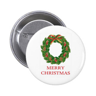 MERRY CHRISTMAS - WREATH PIN