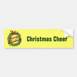 Merry Christmas Wreath Car Bumper Sticker