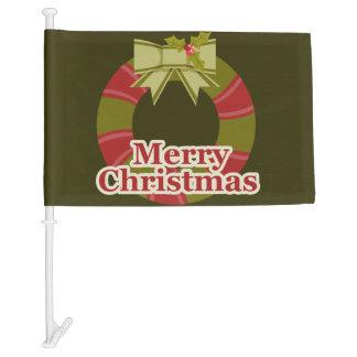 Merry Christmas Wreath Car Flag