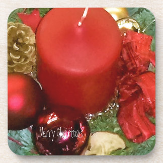 Merry Christmas Wreath Beverage Coasters