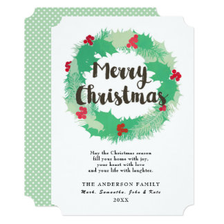 Merry Christmas Wreath Custom Greeting Flat Card