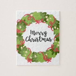 MERRY CHRISTMAS WREATH, Cute Jigsaw Puzzle