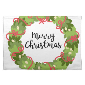 MERRY CHRISTMAS WREATH, Cute Placemat