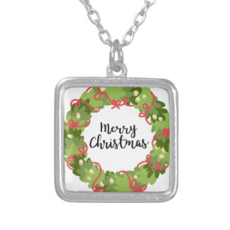 MERRY CHRISTMAS WREATH, Cute Silver Plated Necklace