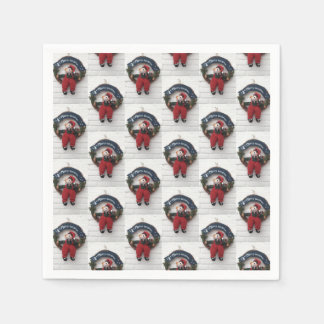 Merry Christmas Wreath Cute Teddy Bear Pattern Paper Napkin