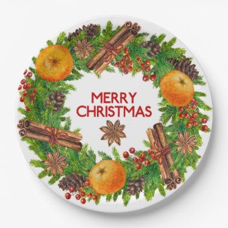 Merry Christmas Wreath Evergreen Watercolor Fruit Paper Plate