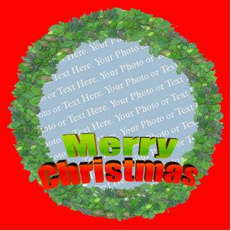 Merry Christmas Wreath Frame Standing Photo Sculpture