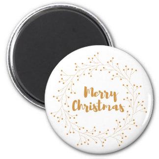 Merry Christmas wreath - golden 6 Cm Round Magnet