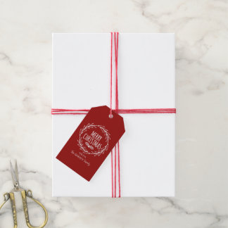 Merry Christmas Wreath Holiday Gift Tags
