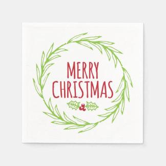 Merry Christmas Wreath Holiday Napkins Disposable Napkin