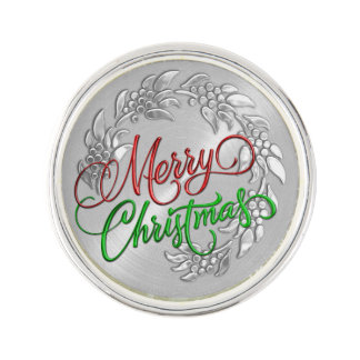 Merry Christmas Wreath Lapel Pin