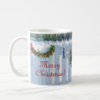 Merry Christmas Wreath on Snowy Fence Mug