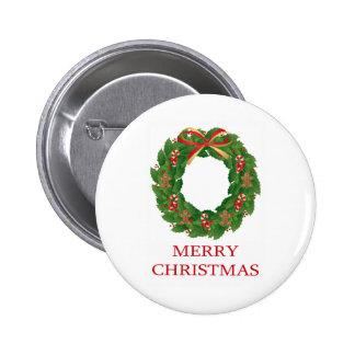 MERRY CHRISTMAS - WREATH PIN