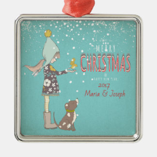 Merry Christmas- X-mas Girl Dog editable Text on Metal Ornament