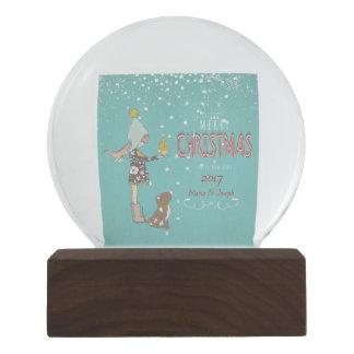 Merry Christmas- X-mas Girl Dog editable Text on Snow Globe