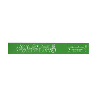 Merry Christmas Xmas Snowman Gree Return Address 2 Wraparound Return Address Label