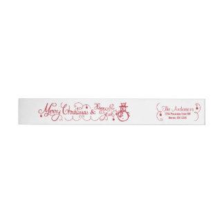 Merry Christmas Xmas Snowman Red Return Address Wraparound Return Address Label