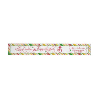 Merry Christmas Xmas Snowman Stripe Return Address Wraparound Return Address Label