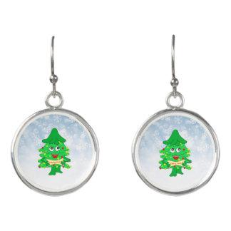 Merry Christmas Xmas Tree Earrings