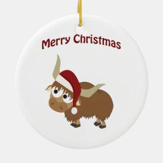 Merry Christmas! Yak Ceramic Ornament