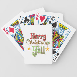 Merry Christmas Y'all Bicycle Playing Cards