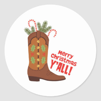 Merry Christmas Yall Classic Round Sticker