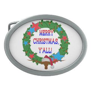 Merry Christmas Y'all - Holly wreath w/Longhorn Oval Belt Buckles