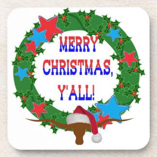 Merry Christmas Y'all - Holly wreath w/Longhorn Drink Coasters