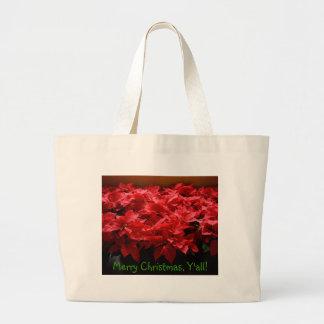 Merry Christmas, Yall! Poinsettias Canvas Tote Jumbo Tote Bag