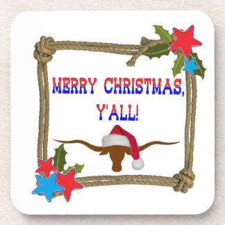 Merry Christmas Y'all - Rope Wreath w/Longhorn Beverage Coasters