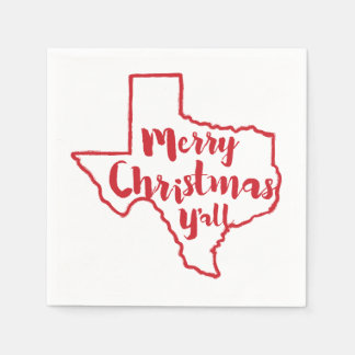 Merry Christmas Y'all Texas State Napkins Disposable Napkins