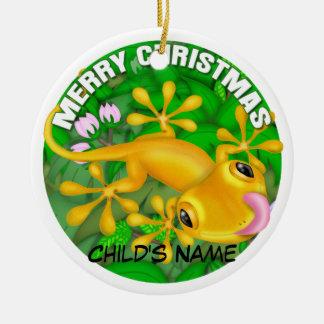 Merry Christmas Yellow Lizard Ceramic Ornament