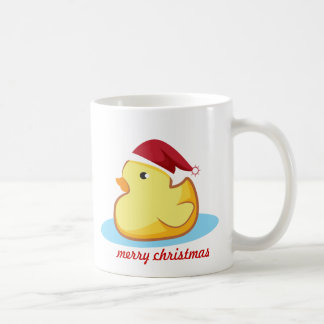 Merry Christmas yellow rubber duck mug