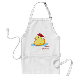 Merry Christmas yellow rubber duckie apron