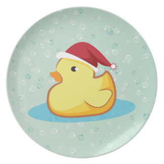 Merry Christmas yellow rubber duckie plate