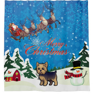 Merry Christmas Yorkie With Santa Shower Curtain