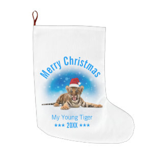 Merry Christmas | Young Tiger Gift Large Christmas Stocking