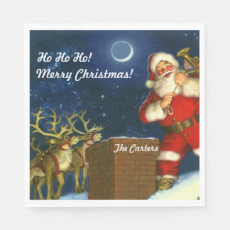 Merry Christmas YOUR NAME Santa Claus Reindeer Paper Serviettes