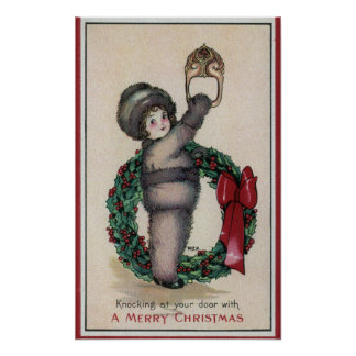 Merry ChristmasKid Knocking with a Wreath Poster