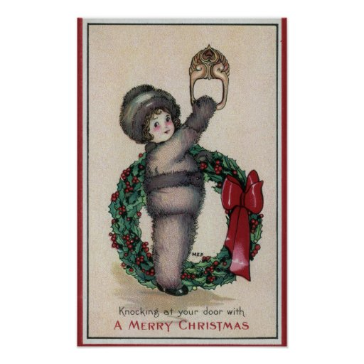 Merry ChristmasKid Knocking with a Wreath Posters