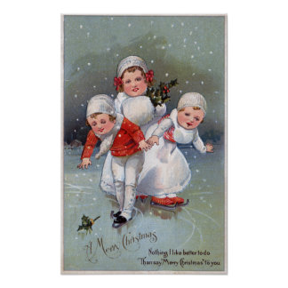 Merry ChristmasLittle Kids Ice Skating Poster