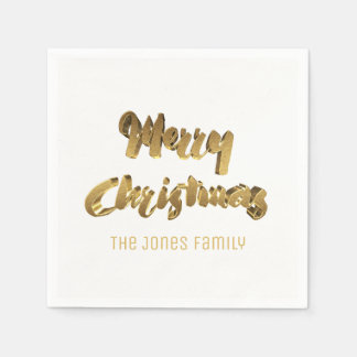 Merry ChristmasWhite Gold Handwriting Typography Disposable Serviettes