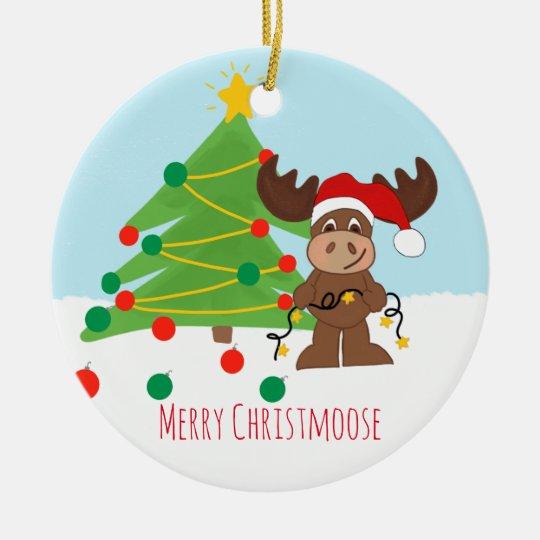 Merry Christmoose Circle Ornament