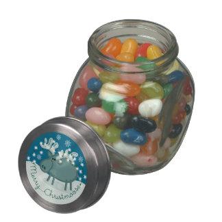 Merry Christmoose Glass Candy Jar