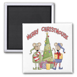 Merry Christmouse Square Magnet