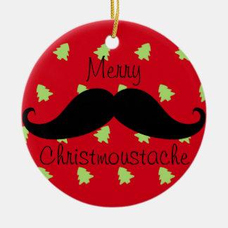 Merry Christmoustache Ornament Round