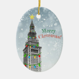 MERRY CLEVEMAS Cleveland Christmas  PERSONALIZE IT Ceramic Ornament