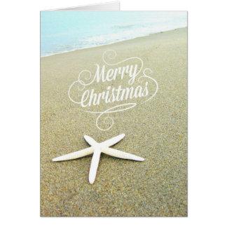 Merry Coastal Beach Christmas Starfish Card