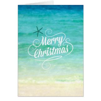 Merry Coastal Christmas Ocean Beach Card